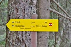 Tourist signposting, Niederösterreich. View of tourist signposting, Niederösterreich, state Austria stock photos