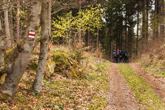 Tourist signs in the Czech Republic. Hiking trail through the woods. Family trip. Stock Photo