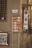 Tourist signs Florence Royalty Free Stock Photos