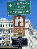 Tourist signs in San Francisco Stock Photo