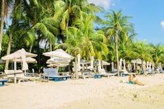 Tourist at Siloso Beach of Sentosa island resort in Singapore Stock Photos