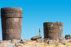 Tourist Silustani tombs peruvian Andes Puno Peru Stock Images