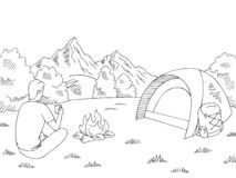 Tourist sitting near the bonfire and drinking from a cup. Camping graphic black white mountain landscape sketch illustration vect royalty free illustration