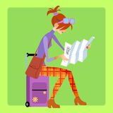 Tourist sitting on the suitcase and looks map. Tourist sitting on the suitcase and looks at the map at the airport or at the station or on the bus vector illustration