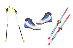 Tourist skis, ski poles and boats Stock Photo
