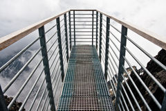 Tourist skydeck terrace. Skywalk deck built for tourists on high altitude at Lomnicky Peak in Slovakia Stock Photos