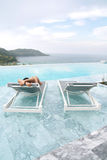 Tourist sleep on deckchair Royalty Free Stock Image