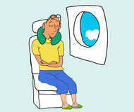 Tourist sleep and dreaming in airplane chair Stock Images