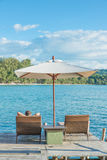 Tourist sleeping in chair beach at luxury resort, Phuket, Thauland. Stock Photos