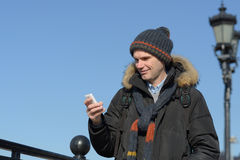 Tourist with smartphone Royalty Free Stock Images