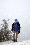 Tourist and soft hail Stock Images