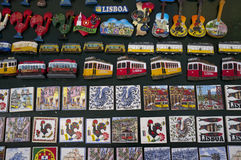 Tourist souvenirs (magnets) of Lisbon - Portugal Royalty Free Stock Image