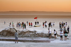 Tourist spot at salt lake Chott El Jerid Royalty Free Stock Photography