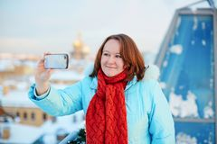 Tourist in St. Petersburg, Russia doing selfie Stock Photography