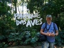 Tourist standing at Parque Das Aves. Tourist standing parque das aves royalty free stock photos