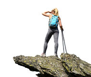 Tourist is standing on a rock. Stock Photo