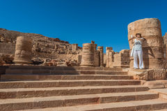 Tourist standing roman temple in Nabatean city of  Stock Images