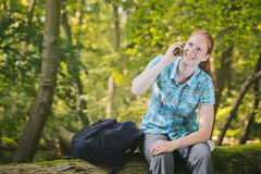 Tourist Staying Connected on a Trip Stock Photography