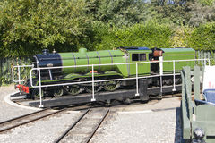 Tourist steam train turntable scarborough. Train turntable to change direction of stock images