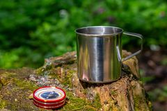 Tourist steel cup and compass in the summer forest.  stock photos