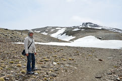 Hiker on the way to the peak Veleta in the Sierra Nevada Stock Photography