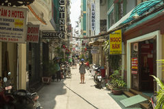 Tourist street in Ho Ch Minh city in Vietnam Royalty Free Stock Photo