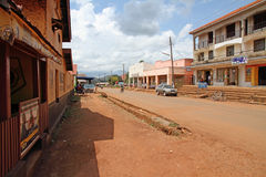 Tourist Street of Masindi, Uganda. MASINDI, UGANDA - September 30,2012.  Looking down the street that all the tour vehicles stop at for shopping on the way to Royalty Free Stock Photo