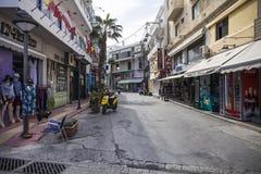 Tourist streets in Hersonissos. Tourist Resort in Crete, Greece stock images