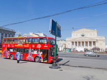 Tourist streets of Moscow and sightseeing bus Stock Photos
