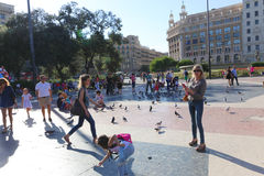 Tourist Stroll at Barcelona, Spain Royalty Free Stock Photos