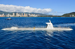Tourist submarine on tropical ocean, Hawaii Royalty Free Stock Images