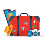 Tourist suitcase, camera,hat, map and passport. Element for your travel design. Vector stock stock illustration