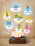 Tourist suitcase with famous landmarks around the world Royalty Free Stock Photography