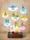 Tourist suitcase with famous landmarks around the world Royalty Free Stock Photo
