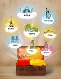 Tourist suitcase with famous landmarks around the world Royalty Free Stock Photo