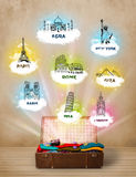 Tourist suitcase with famous landmarks around the world Stock Images