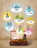Tourist suitcase with famous landmarks around the world Stock Image