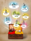 Tourist suitcase with famous landmarks around the world Royalty Free Stock Image