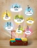 Tourist suitcase with famous landmarks around the world Royalty Free Stock Photos