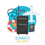 Tourist suitcase and vacation symbols Royalty Free Stock Photography