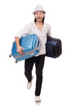 Tourist with suitcases isolated on white Royalty Free Stock Photography