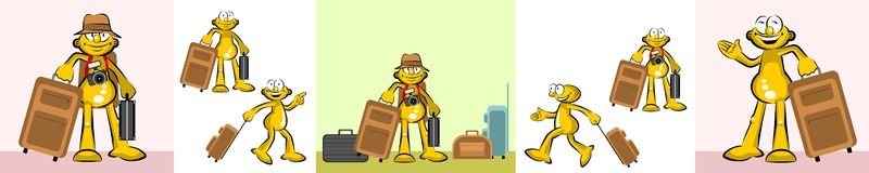 Tourist with suitcases Vector Cartoons Set Royalty Free Stock Image