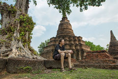 Tourist in sukhothai Stock Image