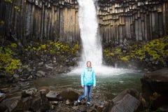 Tourist with Svartifoss Royalty Free Stock Photos
