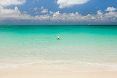 Tourist swimming in an empty sea Royalty Free Stock Photography