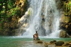 El Limon waterfall on Dominican Republic Stock Photos