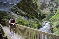 Tourist at Swiss gorges Stock Images