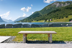 Tourist table at the fjord shore, Norway Royalty Free Stock Photography