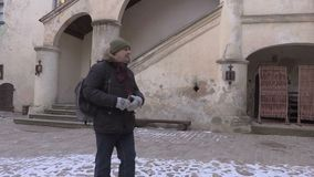 Tourist take pictures in the medieval castle stock video footage