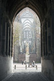 Tourist takes picture of dom tower in utrecht Royalty Free Stock Image